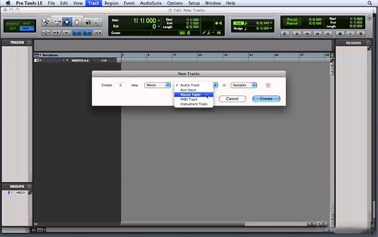 Creating A New Track In Pro Tools