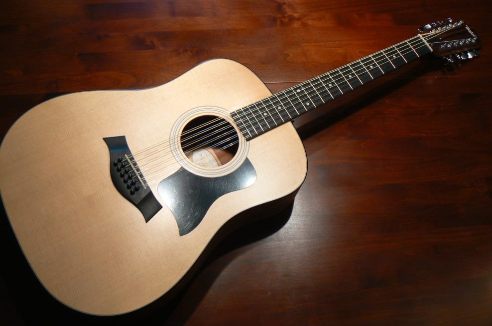 open c tuning on a 12-string acoustic guitar